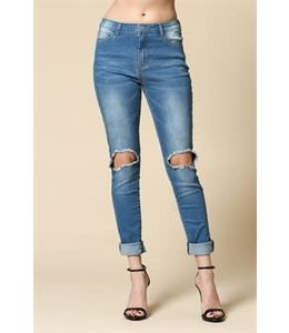 PODOS Distressed Hi-Rise Ankle Length Skinnys
