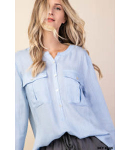 PODOS Button Front Slub Blouse