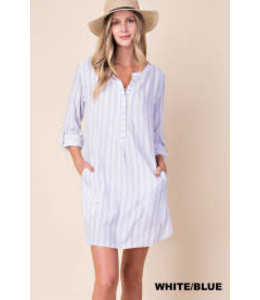 PODOS Stripe Shirt Dress