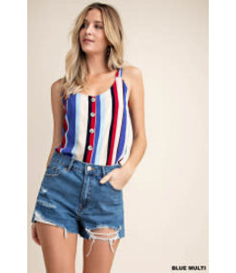 PODOS Stripe Button Front Tank
