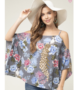 PODOS Floral Off-Shoulder Top w/ Batwing Sleeve.