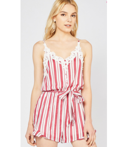 PODOS Striped Button-Up Romper w/ Crochet Trim