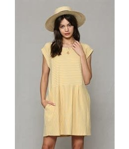 PODOS Stripe Babydoll Dress w/ Pockets