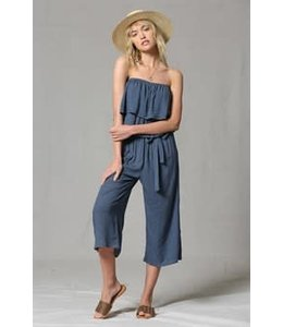 PODOS Strapless Jumpsuit w/ Ruffle Overlay
