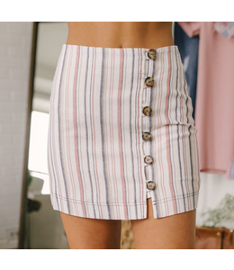 PODOS Stripe High Waist Skirt
