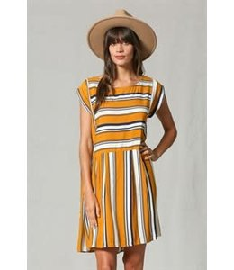 PODOS Vertical/Horizontal Stripe Dress