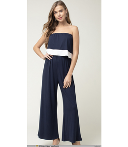 PODOS Strapless Jumpsuit w/ Overlay Top