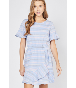PODOS Striped Scoop-neck Dress