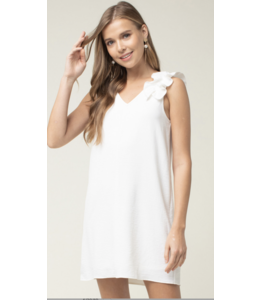 PODOS V-neck Dress w/ Frill Shoulder Detail
