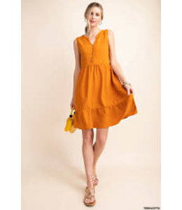 PODOS Button Front Sleeveless A-Line Dress