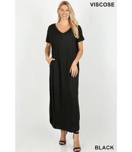 PODOS V-neck Maxi Dress w/ Pockets