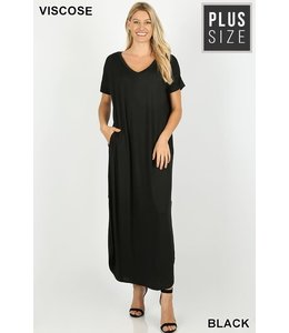 PODOS V-neck Maxi Dress w/ Pockets PLUS