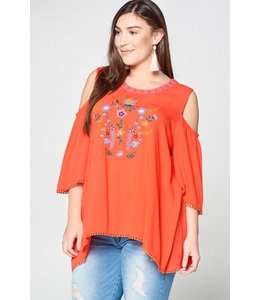 PODOS Floral Embroidered Cold-Shoulder Top