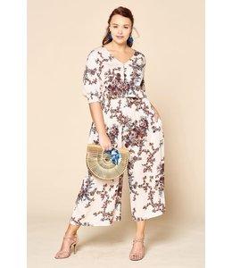PODOS Smocked Waist Floral Jumpsuit