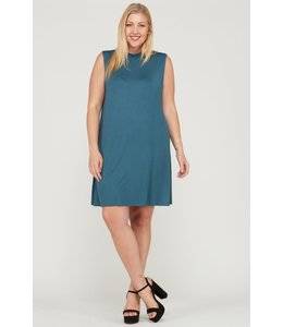 PODOS Plus Size Sleeveless Swing Dress