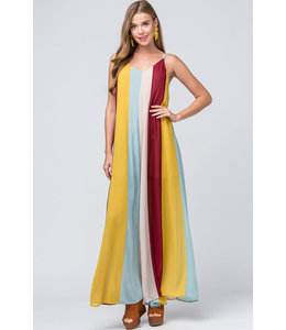 PODOS Color Block V-neck Maxi