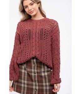 PODOS Open-Knit Chenille Sweater