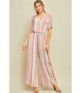 PODOS Multi-Stripe Wrap Front Jumpsuit