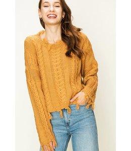 PODOS Braid Knit Tassel Sweater