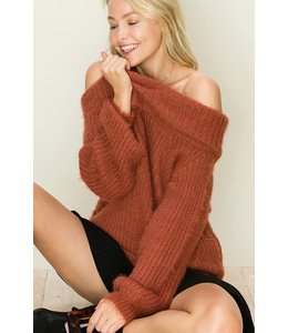 PODOS Off Shoulder Fuzzy Sweater