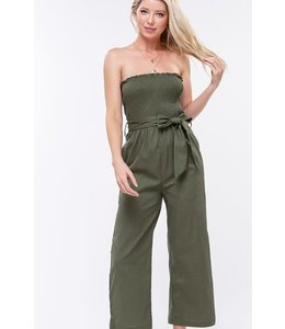 PODOS Smocked Ruffle Tube Top Jumpsuit