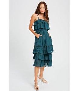 PODOS Smocked Waist Layered Ruffle Dress