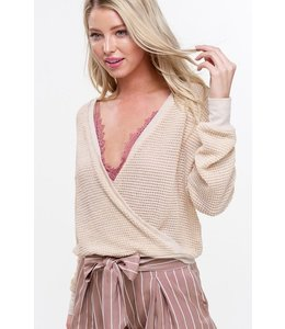 PODOS Waffle Knit Top w/ Contrast Band