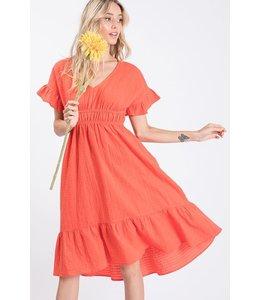 PODOS Ruffle Hem Dress w/ Elastic Waist
