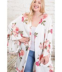 PODOS Floral Print Kimono - PLUS