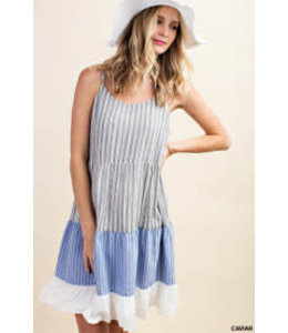 PODOS Striped Sundress w/ Ruffle Bottom