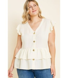 PODOS Button- Down Ruffle Hem Top Plus