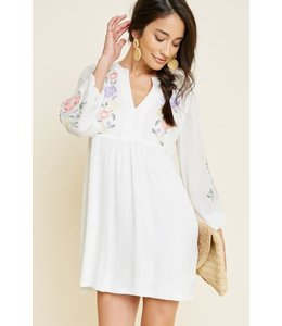 PODOS Embroidered Floral Peasant Dress