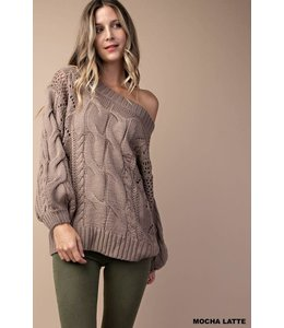 PODOS CABLE DETAILED PUFF SLEEVES SWEATER