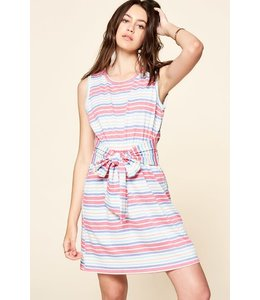 PODOS Knit Striped Dress w/ Belted Waist