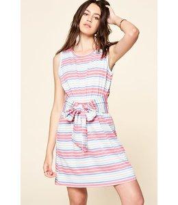 PODOS Knit Striped Dress w/ Belted Waist