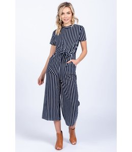 PODOS SIDE TIE STRIPED JUMPSUIT
