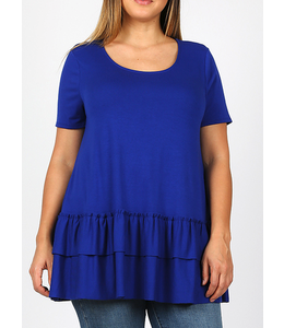 PODOS Ruffle Bottom Short Sleeve Top PLUS