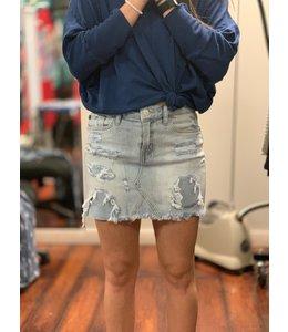 PODOS Destroyed Denim Skirt