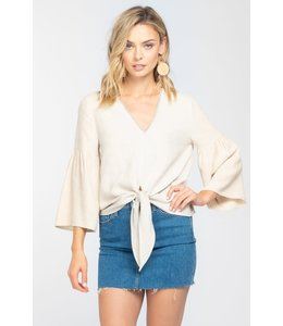 PODOS TIE FRONT BELL SLEEVE TOP