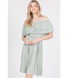 PODOS Ruffled Off Shoulder Solid Dress