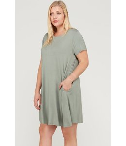 PODOS SOLID TRAPEZE KNIT POCKET DRESS