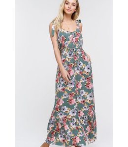 PODOS Floral Maxi Dress w/  Shoulder Tie