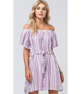 PODOS Striped Off-Shoulder Dress w/ Tie Waist Closure