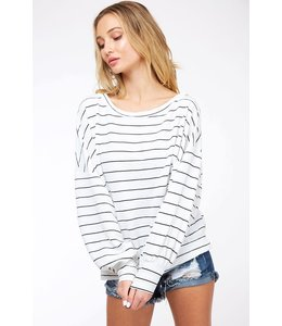 PODOS Stripe One Shoulder Knit Top