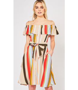 PODOS Stripe Off-shoulder, Button Front Dress