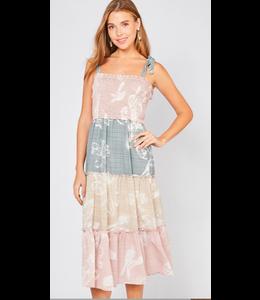 PODOS Floral Print Smocked Dress w/ Tie Straps
