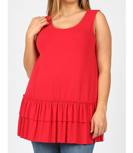 PODOS Dbl Ruffle, Round Neck Slvless Top PLUS