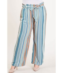 PODOS Striped Palazzo Pants PLUS