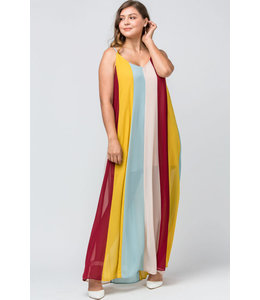 PODOS Color Block V-Neck Maxi - PLUS