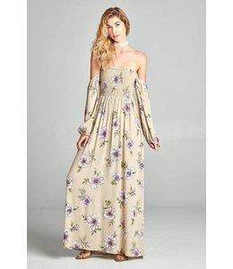 PODOS Off Shoulder Floral Print Maxi Dress